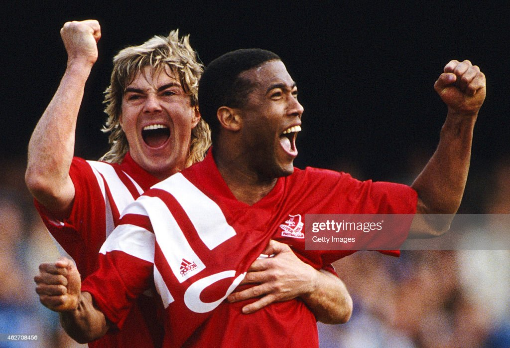 Liverpool players John Barnes (r) and Barry Venison celebrate a late equaliser during the 1992 FA Cup semi final between Liverpool and Portsmouth at Higbury on April 5, 1992 in London, England, Liverpool won the replay and went on to lift the trophy.