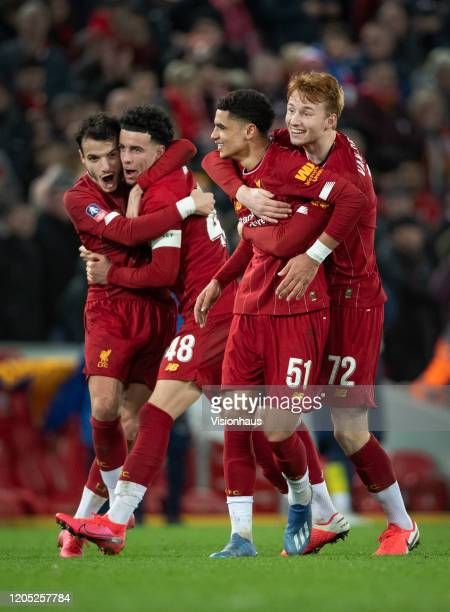 Liverpool players Ki-Jana Hoever, Sepp van den Berg, Curtis Jones and Pedro Chirivella celebrate after the final whistle of the FA Cup Fourth Round...