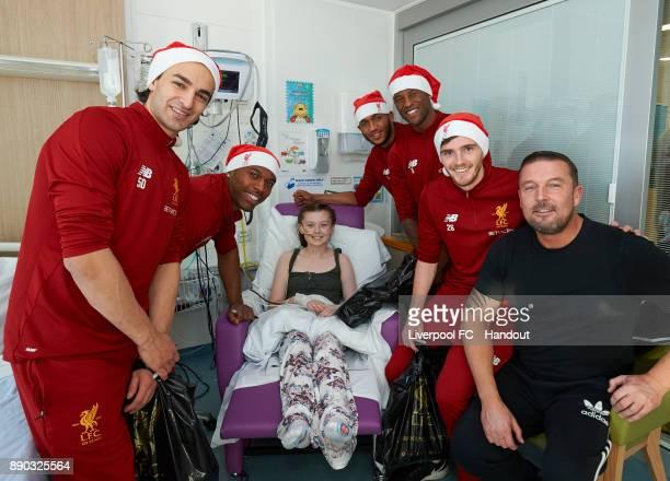 Liverpool players Lazar Markovic Daniel Sturridge Joe Gomez Georginio Wijnaldum and Andrew Robertson making their annual visit to Alder Hey...