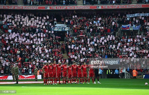 Liverpool players observe a silence for the 23rd anniversary of the Hillsborough disaster prior the FA Cup with Budweiser Semi Final match between...