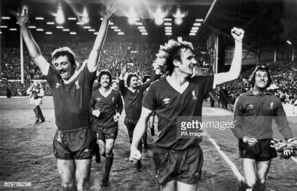 Liverpool players perform a lap of honour after winning 30 to clinch the League Championship for the third time in four years Alan Kennedy David...