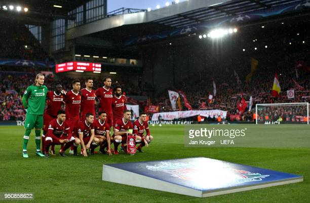 Liverpool players pose for a group picture during the UEFA Champions League Semi Final First Leg match between Liverpool and AS Roma at Anfield on...