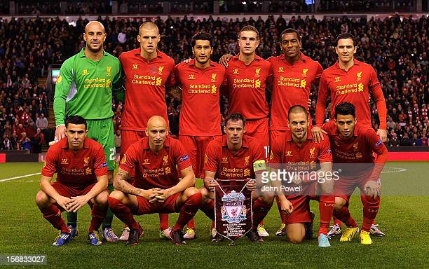 Liverpool players pose for a team group shot before the UEFA Europa League Group A match between Liverpool and BSC Young Boys at Anfield on November...