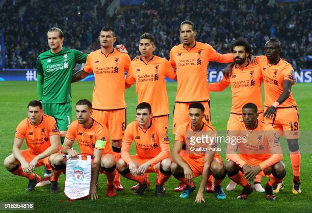 Liverpool players pose for a team photo before the start of the UEFA Champions League Round of 16 First Leg match between FC Porto and Liverpool FC...