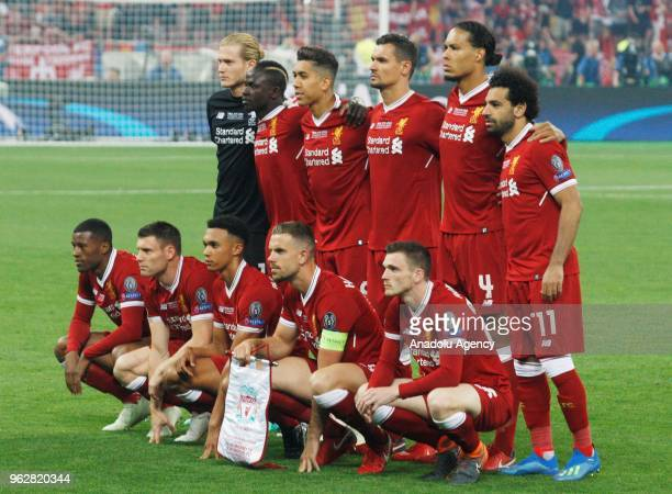 Liverpool players pose for a team photo prior to the UEFA Champions League final football match between Real Madrid and Liverpool FC at the...