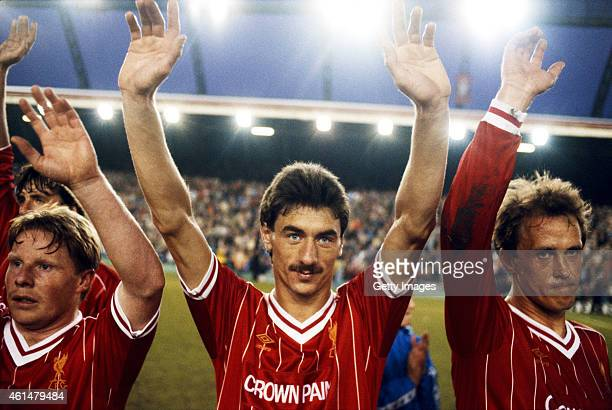 Liverpool players Sammy Lee Ian Rush and Phil Neal wave to the crowd after a League Division One match between Liverpool and Norwich City at Anfield...