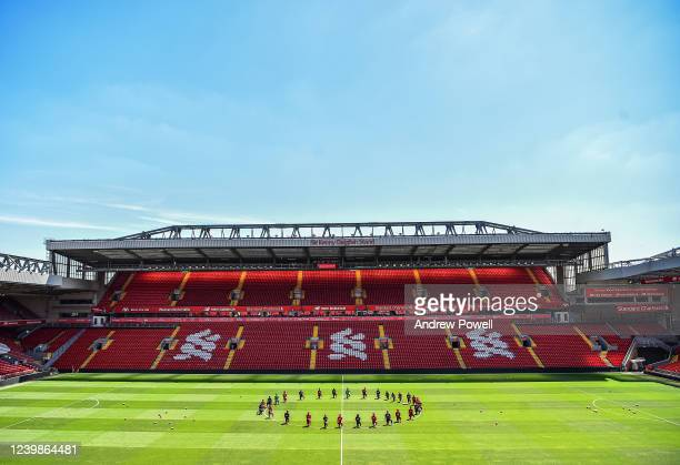 Liverpool players take a knee in memory of George Floyd at Anfield on June 01 2020 in Liverpool England