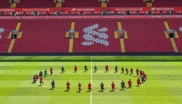 GBR: Liverpool Players Take the Knee in Memory of George Floyd During a Training Session
