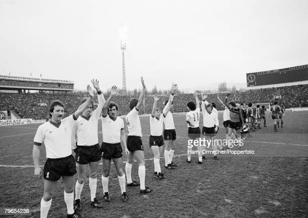 Football European Cup Quarter Final 2nd Leg CSKA Sofia 0 v Liverpool 1 18th March 1981 Liverpool lineup on the pitch prior to the match