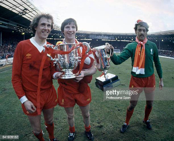 Liverpool players with the League Cup and the Milk Cup following their victory over Tottenham Hotspur in the League Cup Final sponsored by the Milk...