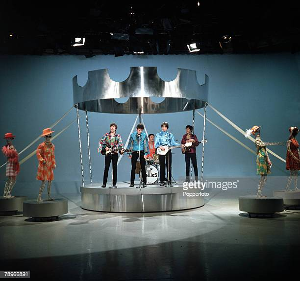 1968 Liverpool pop band 'The Hollies' on a TV set playing live next to four mannequins