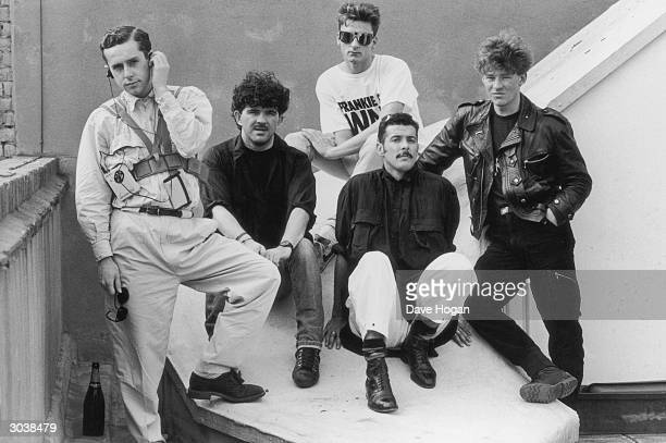 Liverpool pop group Frankie Goes To Hollywood 1984 Left to right singer Holly Johnson Peter Gill Mark O'Toole Paul Rutherford Nasher Nash