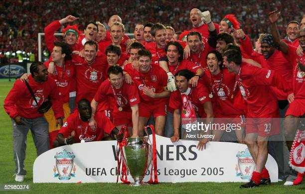 Liverpool pose for a picture after they won the European Champions League final against AC Milan on May 25 2005 at the Ataturk Olympic Stadium in...