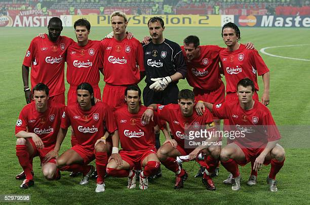 Liverpool poses for their group picture before the European Champions League final between Liverpool and AC Milan on May 25 2005 at the Ataturk...
