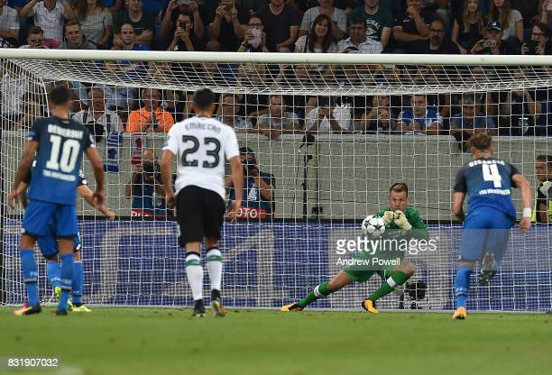 Liverpool Simon Mignolet Saves The Day for Liverpool during the UEFA Champions League Qualifying PlayOffs Round First Leg match between 1899...