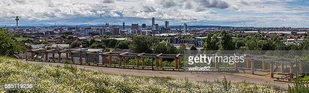 liverpool skyline from everton park - liverpool v everton stock pictures, royalty-free photos & images