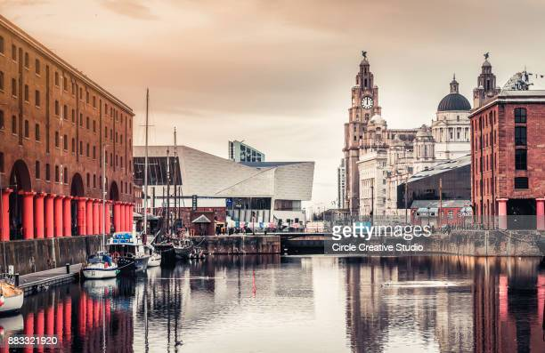liverpool skyline - liverpool england stock photos and pictures