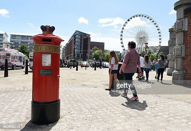A 'Liverpool Special' pillar box is seen on the Albert Dock in Liverpool north west England on July 18 2015 Cast in 1863 it was one of only seven...