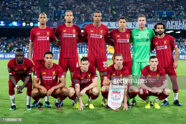 Liverpool squad during the UEFA Champions League match between Napoli and Liverpool at Stadio San Paolo Naples Italy on 17 September 2019