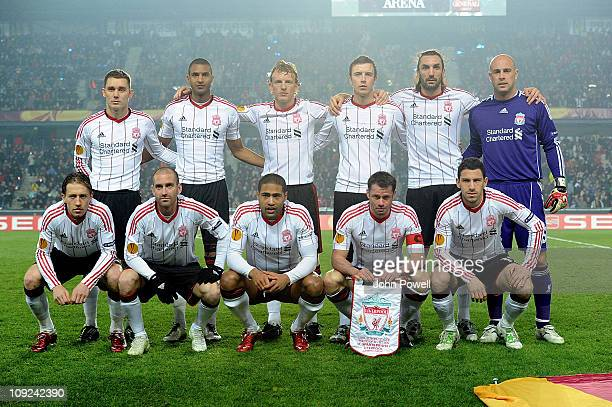 Liverpool squad line up before the UEFA Europa League Round of 32 first leg match between AC Sparta Prague and Liverpool FC at the Generali Arena on...