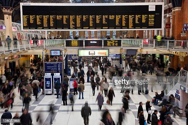 Liverpool Street Railway Station at morning rush hour, London, England, UK