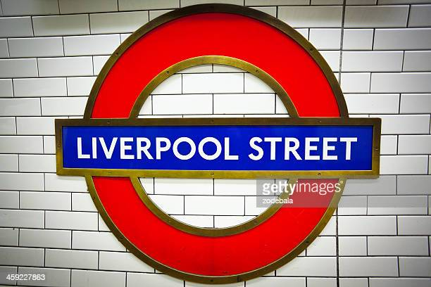 liverpool street station, london underground - roundel stock pictures, royalty-free photos & images