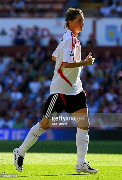 Liverpool striker Fernando Torres makes a run during the Barclays Premier League Match between Aston Villa and Liverpool at Villa Park on August 11...