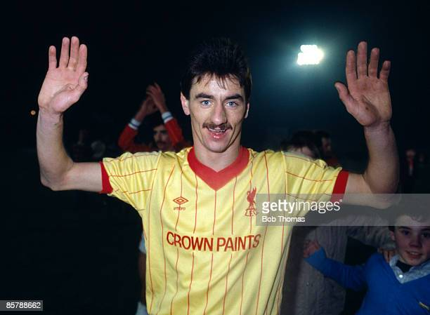 Liverpool striker Ian Rush celebrates at the end of the League Cup Semi-Final 2nd Leg, sponsored by the Milk Marketing Board, against Walsall, 14th...