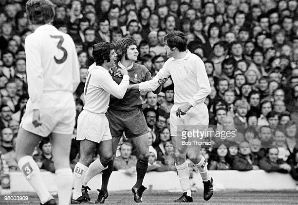 Liverpool striker Kevin Keegan clashes with Leeds United's Norman Hunter and Mick Bates during their First Division league match at Elland Road in...