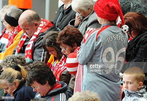 Liverpool supporters attend the the Hillsborough memorial service at Anfield on April 15 Liverpool England Thousands of fans friends and relatives...