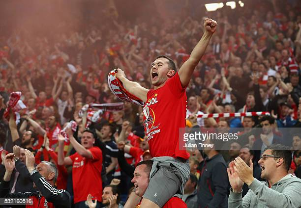 Liverpool supporters cheer during the UEFA Europa League Final match between Liverpool and Sevilla at St JakobPark on May 18 2016 in Basel Switzerland