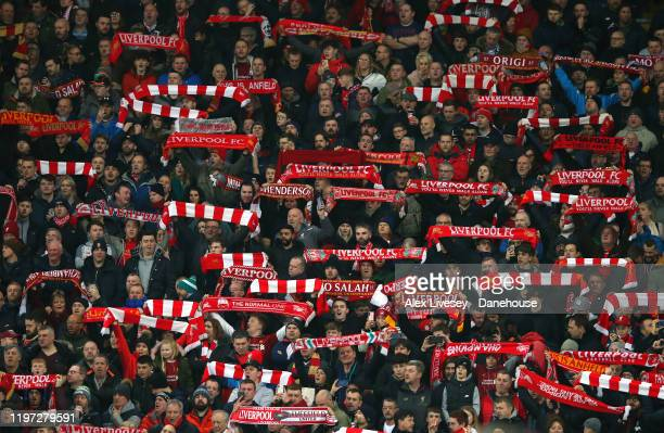 Liverpool supporters in The Kop are seen prior to the Premier League match between Liverpool FC and Sheffield United at Anfield on January 02 2020 in...