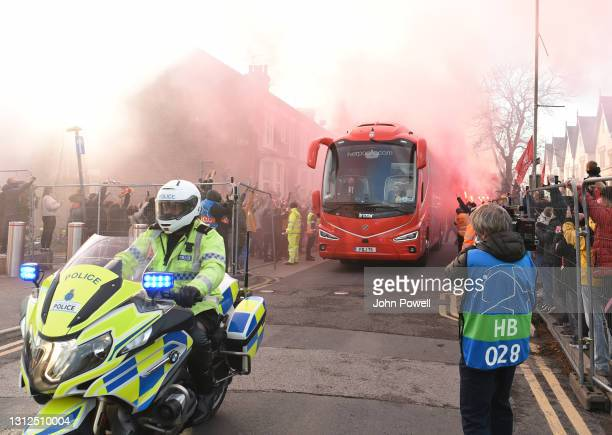 Liverpool team coach arrives at anfield before the UEFA Champions League Quarter Final Second Leg match between Liverpool FC and Real Madrid at...