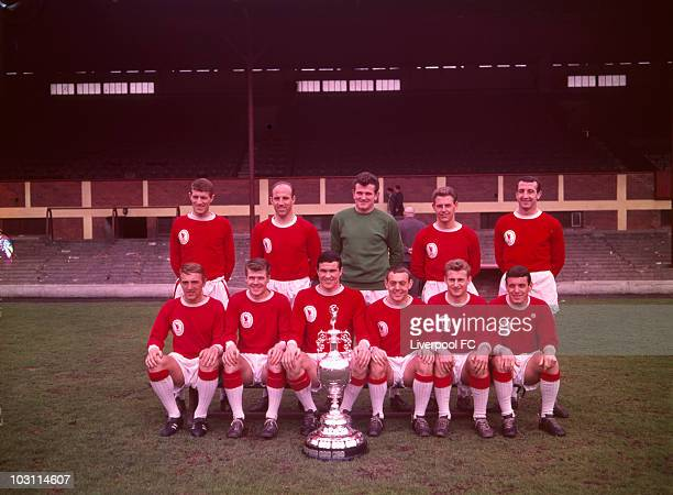 Liverpool team group Back Row Willie Stevenson Ronnie Moran Tommy Lawrence Gordon Milne and Gerry Byrne Front Row Peter Thompson Alf Arrowsmith Ron...