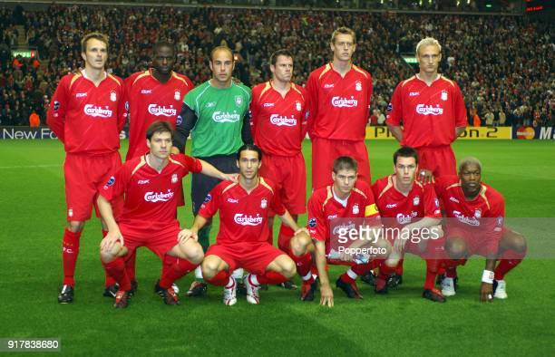 Liverpool team group prior to the UEFA Champions League Group G match between Liverpool and Chelsea at Anfield on September 28 2005 in Liverpool...