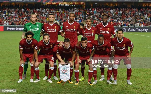 Liverpool team line up before the Premier League Asia Trophy match between Liverpool FC and Leicester City FC at the Hong Kong Stadium on July 22...