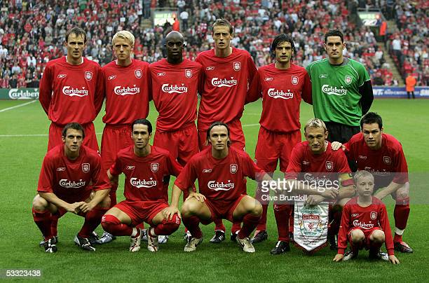 Liverpool team line up prior to the Champions League second qualifying round second leg match between Liverpool and FBK Kaunas at Anfield on August 2...