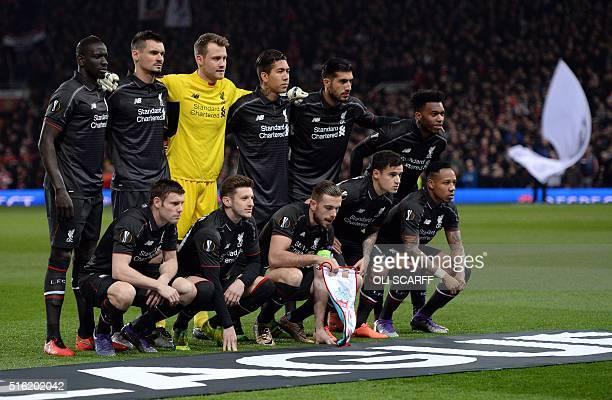 Liverpool team Liverpool's French defender Mamadou Sakho Liverpool's Croatian defender Dejan Lovren Liverpool's Belgian goalkeeper Simon Mignolet...