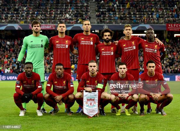 Liverpool Team of Liverpool during the UEFA Champions League group E match between RB Salzburg and Liverpool FC at Red Bull Arena on December 10 2019...