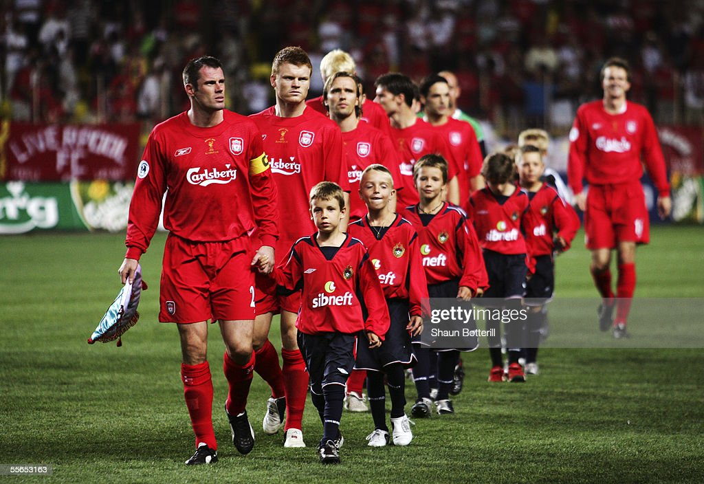 Liverpool team take the field during the UEFA Super Cup match between Liverpool and CSKA Moscow at the Stade Louis II on August 26, 2005 in Monte Carlo, Monaco.