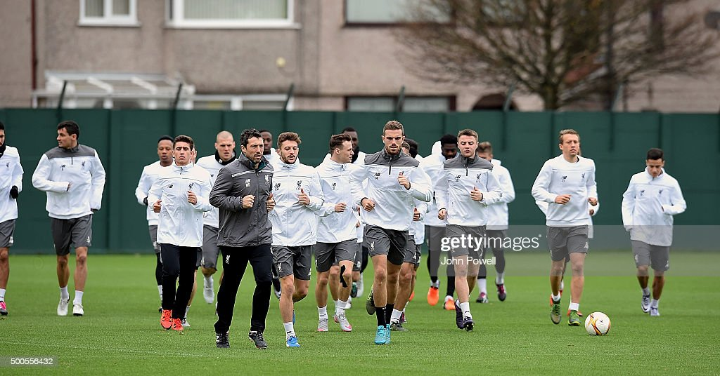 Liverpool team warm up during a training session at Melwood Training Ground on December 9, 2015 in Liverpool, England.