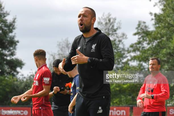 Liverpool U18 manager Barry Lewtas during the Liverpool U18 v Manchester United U18 game at The Kirkby Academy on August 18 2018 in Liverpool England