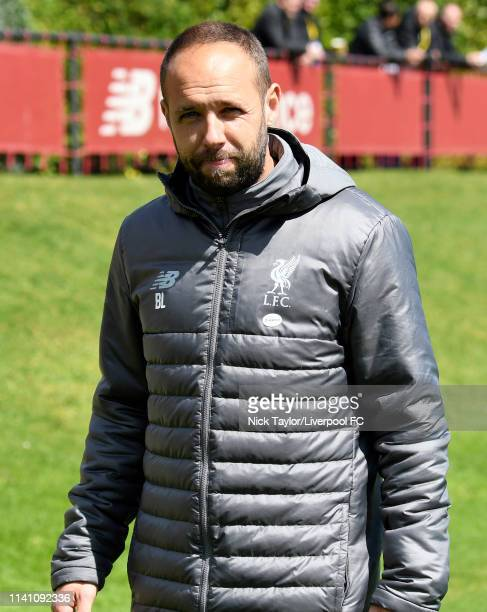 Liverpool U18 manager Barry Lewtas during the U18 Premier League game at The Kirkby Academy on May 4 2019 in Kirkby England