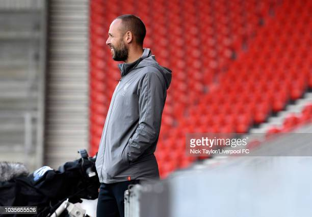 Liverpool U18 manager Barry Lewtas during the UEFA Youth League game at Langtree Park on September 18 2018 in St Helens England