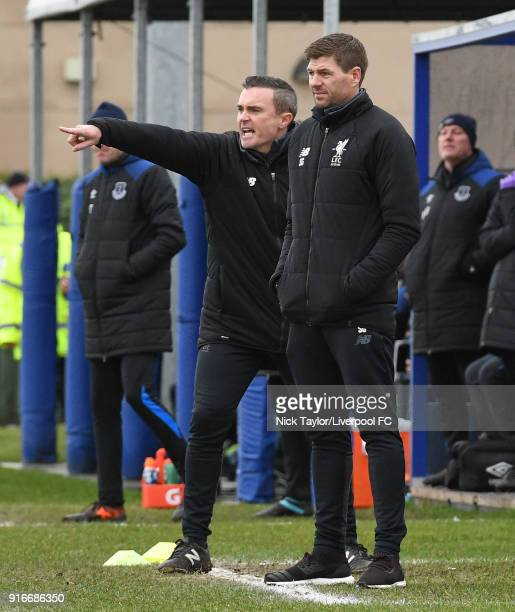 Liverpool U18 manager Steven Gerrard and coach Tom Culshaw during the Everton v Liverpool U18 Premier League game at USM Finch Farm on February 10...