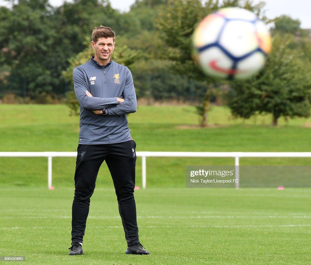 Liverpool U18 manager Steven Gerrard before the Derby County v Liverpool U18 Premier League game at the Derby County Academy on August 11, 2017 in Derby, England.