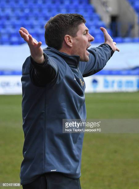 Liverpool U18 manager Steven Gerrard during the Liverpool v Manchester United UEFA Youth League game at Prenton Park on February 21 2018 in...