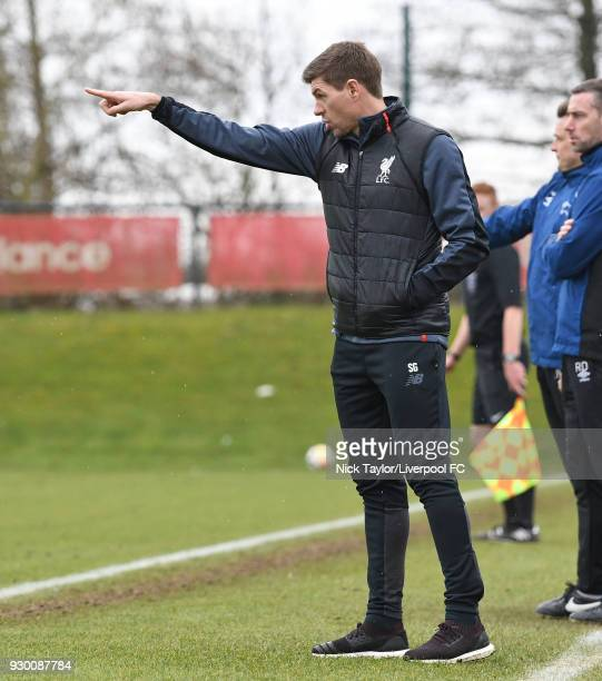 Liverpool U18 manager Steven Gerrard during the U18 Premier League match between Liverpool and Derby County at The Kirkby Academy on March 10 2018 in...
