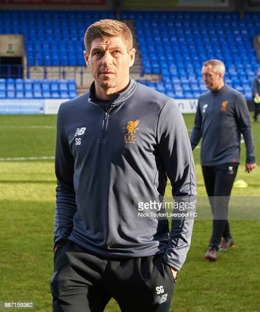 Liverpool U18 manager Steven Gerrard during the UEFA Champions League group E match between Liverpool FC and Spartak Moskva at Prenton Park on...