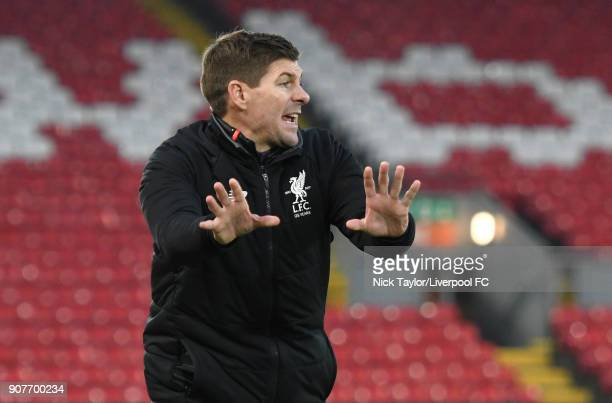 Liverpool U18 manager Steven Gerrard issues instructions to his players during the FA Youth Cup fourth round match between Liverpool and Arsenal at...